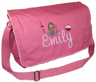 Personalized Girl Fishing Diaper Bag Font shown on diaper bag is REBECCA