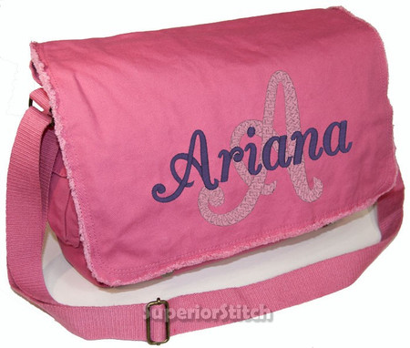 Pigment Dyed Raw Edge Personalized Diaper Bag For Girl Or Boy Embroidered Initial And Name