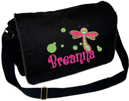 Personalized Diaper Bag For Girl Or Boy Embroidered Large Dragonfly Applique Pigment Dyed With Raw Edge