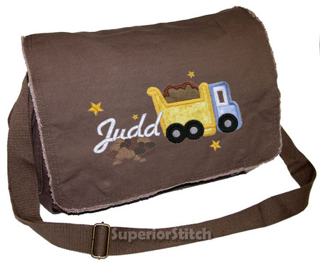 bdafb887d687 Personalized Applique Dump Truck Diaper Bag Font used for name shown on  diaper bag is DRIVE
