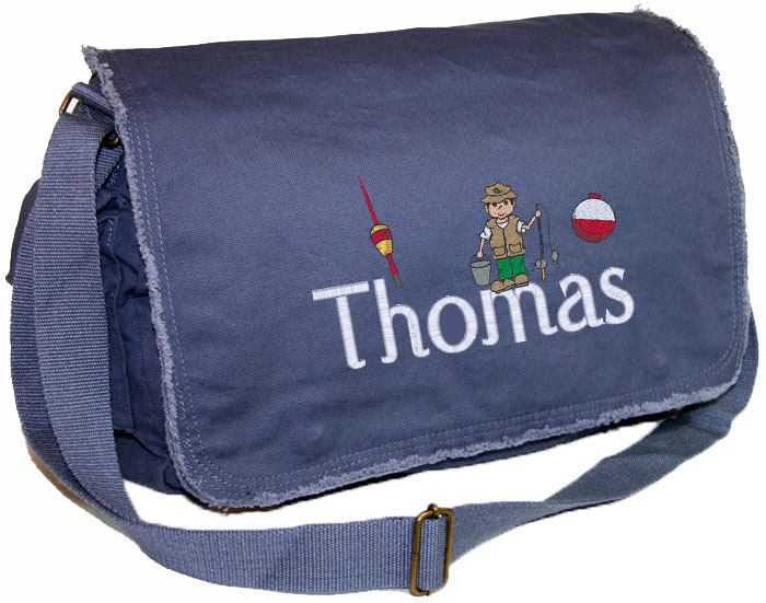 Personalized Fishing Boy Diaper Bag Embroidered Fishing Boy On Pigment Dyed Raw Edge Bag