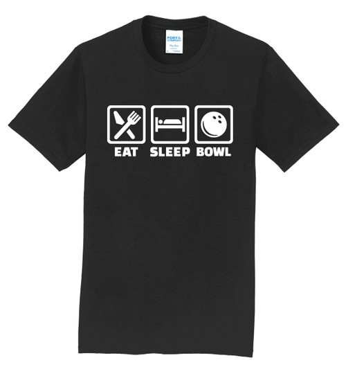 I AM Bowling T-Shirt - Eat Sleep Bowl White Logo - 5 Colors