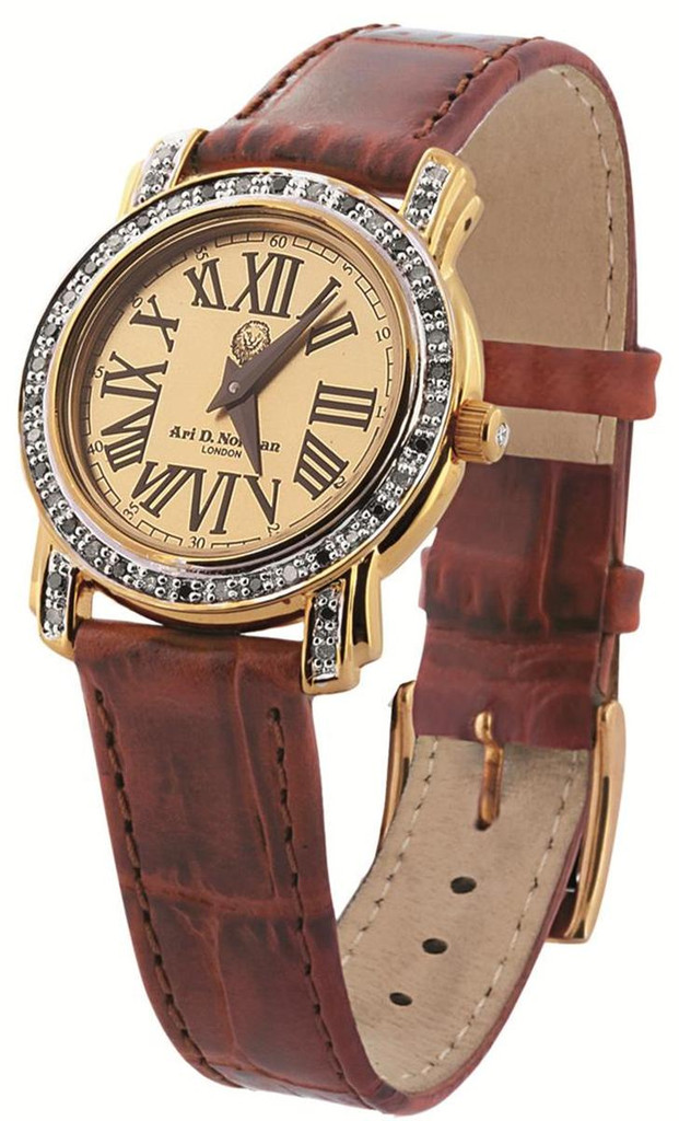 Vermeil Watch with round dial, 45 black and white diamonds, 0.38 carats, brown leather, strap with vermeil buckle, swiss movement, water resistant case, diamond set winder