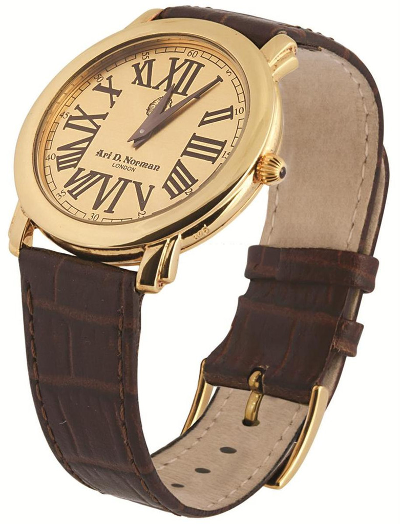 Vermeil Watch with round dial, brown leather strap with vermeil buckle, swiss movement, water resistant, case, sapphire set winder