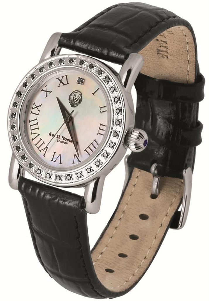 Mother of pearl round dial with 34 black diamonds, 0.31 carats, black leather strap, with silver buckle, swiss movement, water resistant case, black diamond set winder