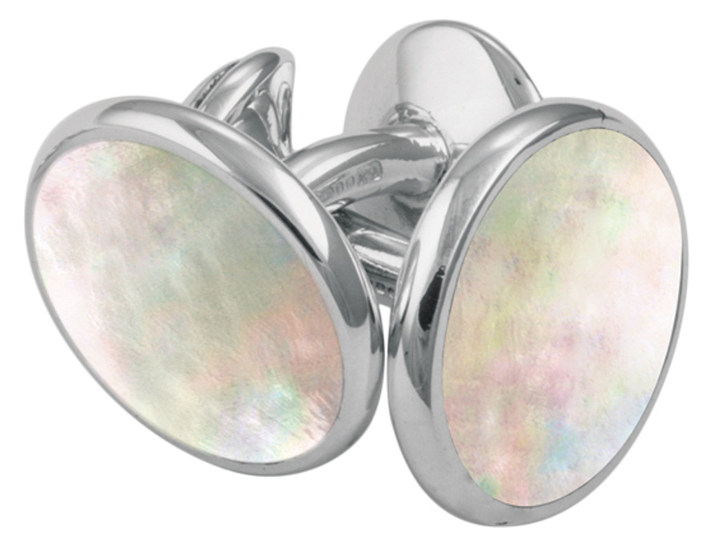 Mother of pearl cufflinks and studs dress shirt set