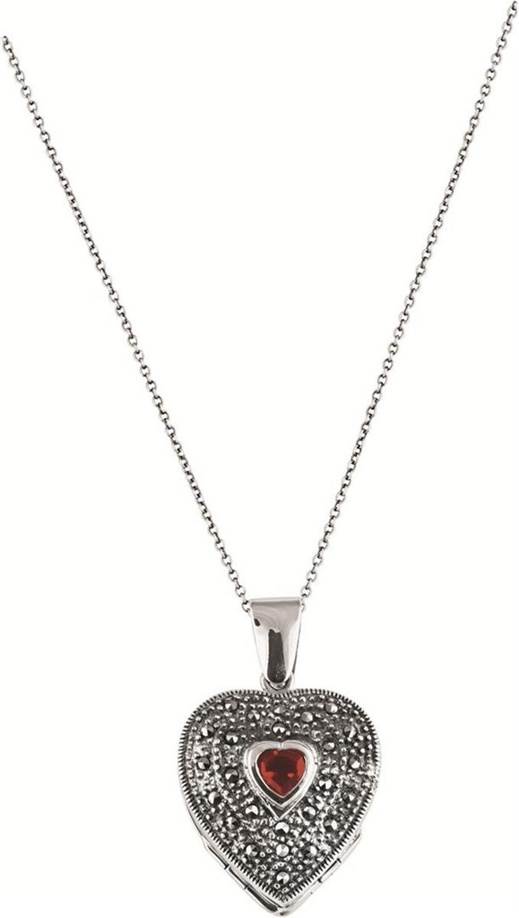 """4 part marcasite and garnet set heart locket on 56cm / 22"""" antique finish Prince of Wales chain"""