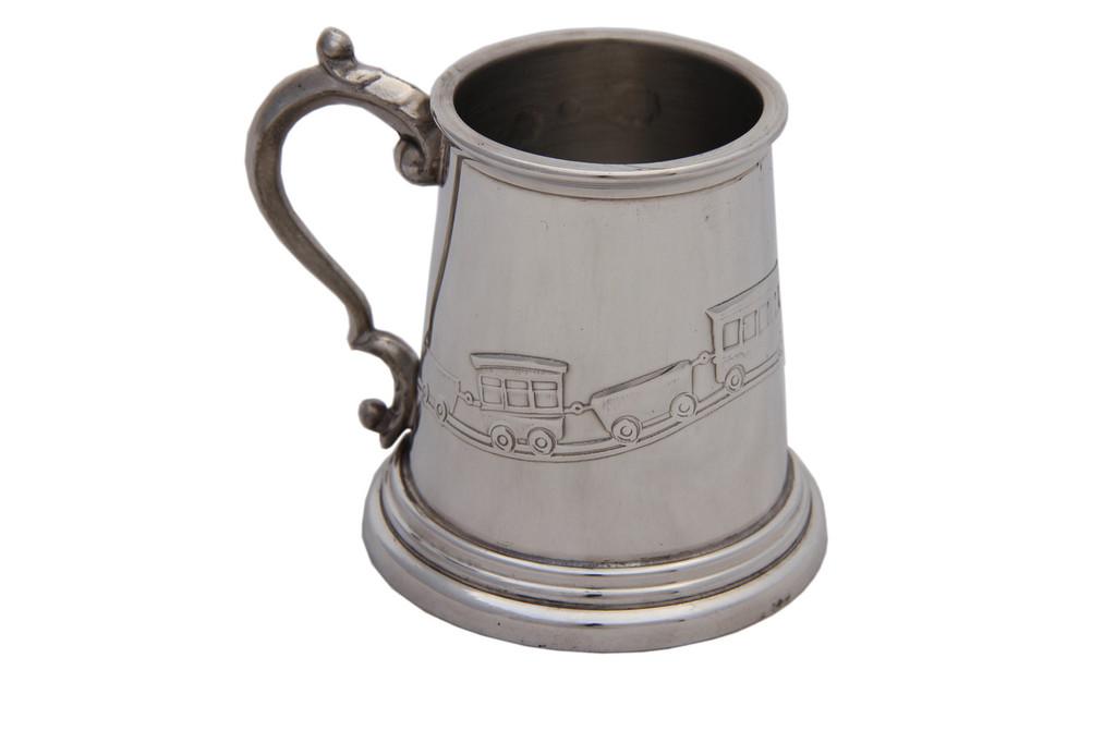 Child's Mug With Train Design English Pewter