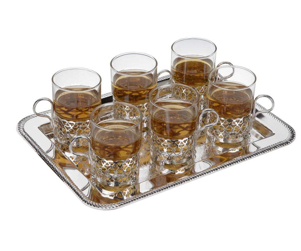 6 Tea Glasses on Tray