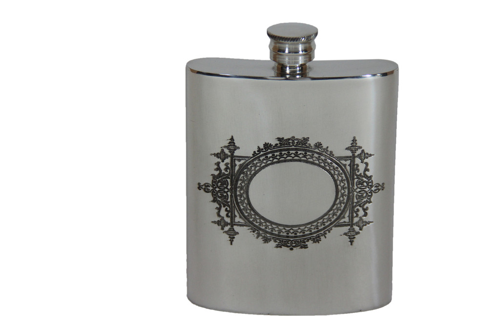 Victorian Engraved Style English Pewter Flask 6oz