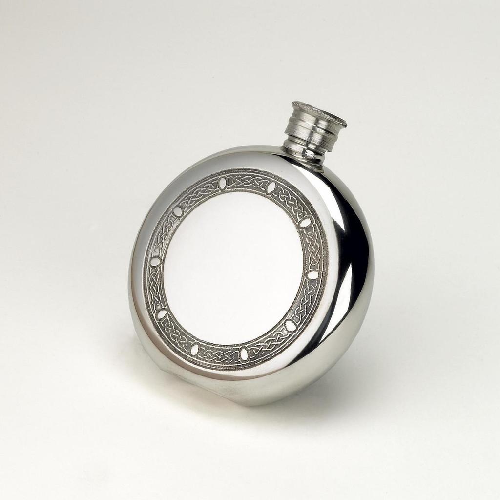 Celtic Design Round English pewter Flask 6oz