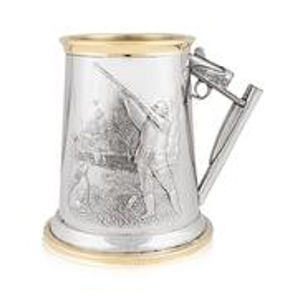 Hunting Scene 1 Pint English Pewter With Brass Rims