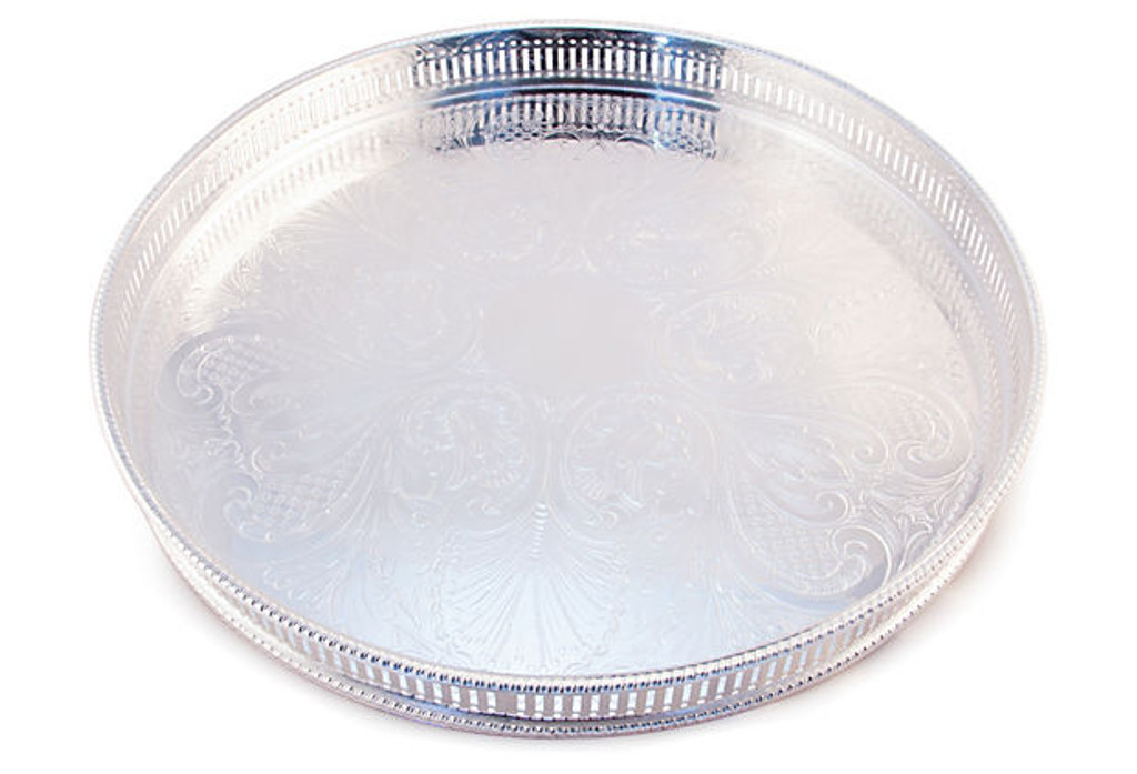 """English Silver Plated Engraved Round Gallery Tray  12 """""""