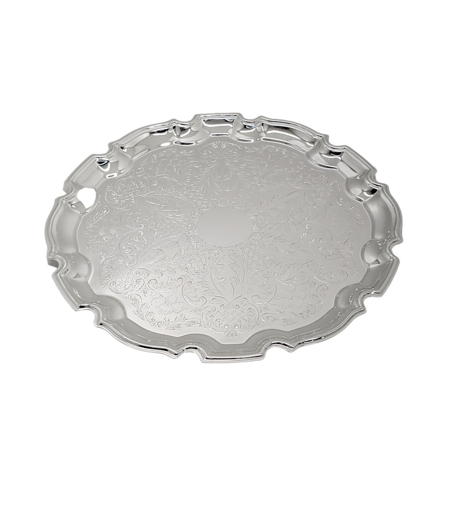 "Medium Chippendale 9.5"" Salver Silver Plate"