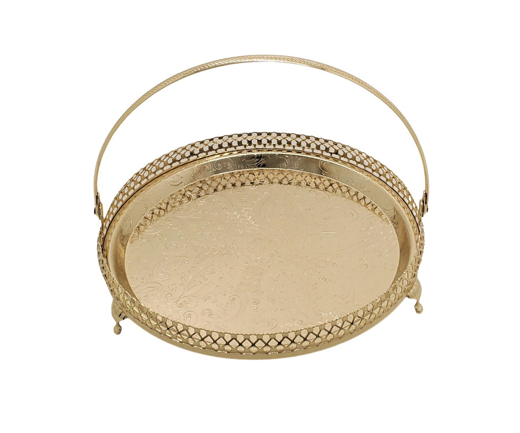 """9"""" Dia. Gallery Tray/Legs/Handle Gold Finish 4/6328"""