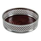 Wine Coaster - Double Diamond Design English Silver Plate (C928)