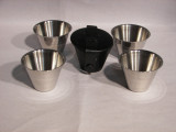 1oz Cups in Black Leather Case,4 PC Set
