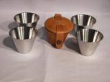 1oz Cups in Tan Leather Case,4 PC Set