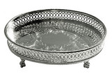 """English Silver-Plated Oval Gallery Tray 8"""""""