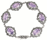 Amethyst and marcasite set Victorian style bracelet with safety catch