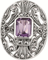 Amethyst and marcasite set Victorian style clip earrings