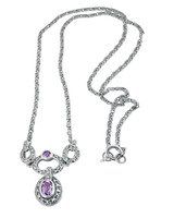 Amethyst and marcasite set Victorian style necklace on an antique finish Panza chain