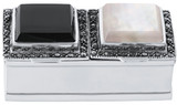 Art Deco rectangular two compartment pillbox with onyx, mother of pearl and marcasite set lid