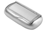 Traditional shape hinged snuff box with engine turned pattern