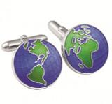 Enamel globe swivel cufflinks
