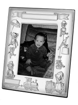 Christening photo frame with mahogany finish back and space for engraving name;date of birth;weight and time of birth