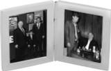 Double rectangular folding travel photo frame