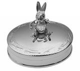 Oval hinged pillbox with moving rabbit (PB521)