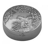 Round hinged pillbox with embossed cat (PB526)
