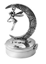 Round hinged pillbox with swinging fairy on oxidised moon (PB590)