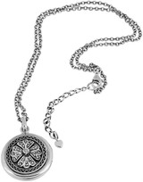 """Marcasite set round locket on 51cm / 2 0"""" antique finish Prince of Wales chain"""