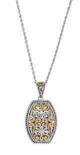"""Two tone gold plated antique polish filigree pendant on antique finish Prince of Wales 51cm / 20"""" chain"""
