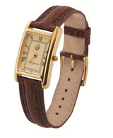 Ladies' Vermeil watch;curved champagne dial;brown leather strap with vermeil buckle;swiss movement;water resistant case;sapphire set winder
