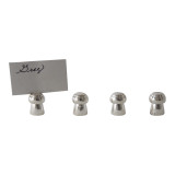 Set/4 Mushroom Silver Plated Place Card Holder with Cards