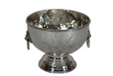 """Hand Chased 6"""" Bowl with Lion Handles Silver Plate"""