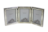 Triple Heavy Quality Sterling engraved Frame with wood back & beveled glass.The hinges are sturdy hold each frame together.