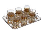 6 Tea Glasses on Tray (Q0/6324)