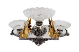 Centerpiece with Gold Plated Swans English silver Plate (C1913)