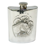 English Pewter Horse Head  Flask 6oz