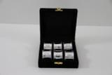 Set/6 Paneled & Bead Silver Plated Napkin Rings in fitted Velvet Box (C3504)