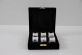 Set/6 Plain & Bead Silver Plated Napkin Rings in fitted Velvet Box (C3508)