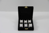 Set/6 Ribbed Silver Plated Napkin Rings in fitted Velvet Box (C3507)