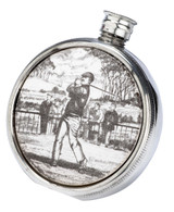 Ceramic & English Pewter  Golf Flask 6oz