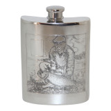 6oz English Pewter Flask. Has fishing scene on both sides