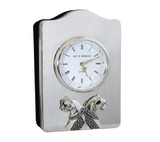 Clock with Cougars and Marcasites Sterling Silver