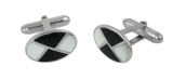 Cufflinks Mother of Pearl and Black Onyx Design English Sterling Silver (CU381)